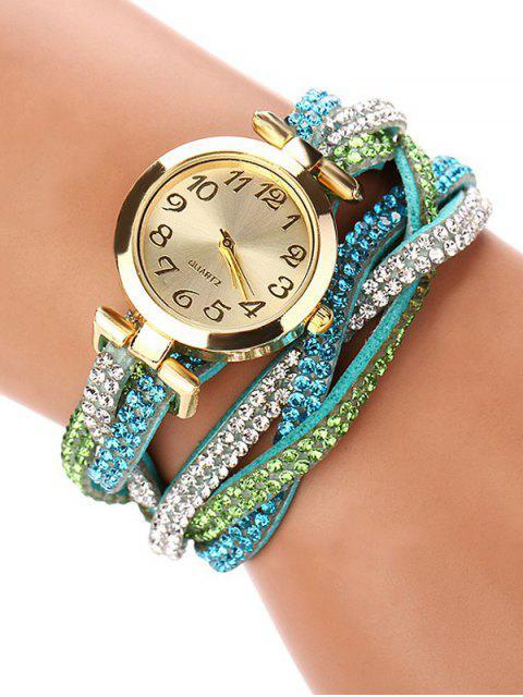 buy Rhinestone Studded Wrap Bracelet Watch - GREEN  Mobile