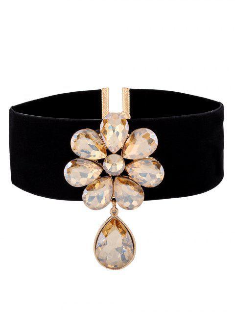 ladies Velvet Rhinestone Floral Necklace - CHAMPAGNE  Mobile