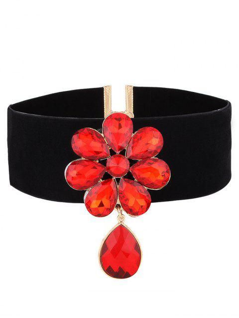 women Velvet Rhinestone Floral Necklace - RED  Mobile