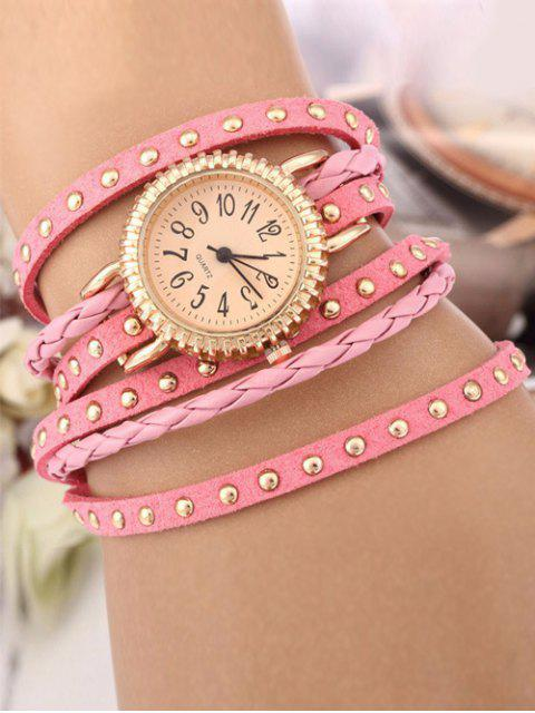 ladies Rivet Studded Layered Bracelet Watch - PINK  Mobile