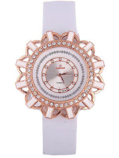 outfit Faux Leather Flower Quartz Watch - WHITE  Mobile