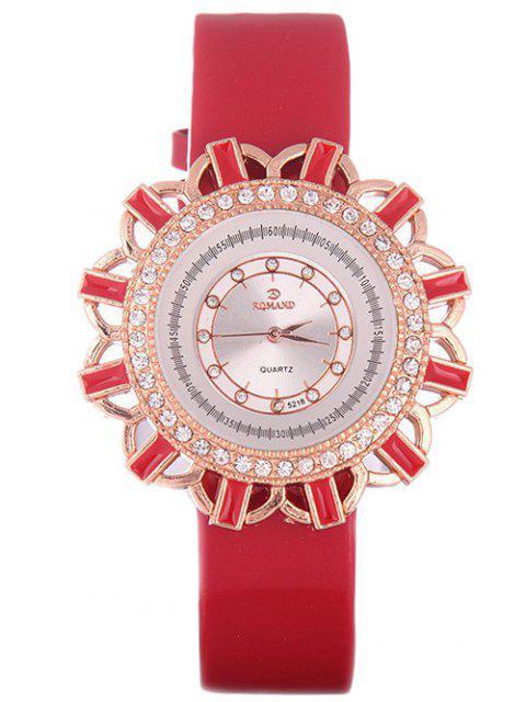shop Faux Leather Flower Quartz Watch - RED  Mobile