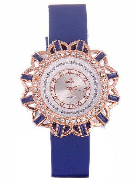shops Faux Leather Flower Quartz Watch - BLUE  Mobile