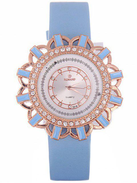 trendy Faux Leather Flower Quartz Watch - AZURE  Mobile