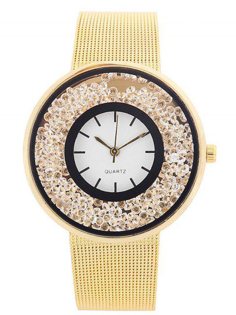 chic Metal Mesh Rhinestone Quartz Watch -   Mobile