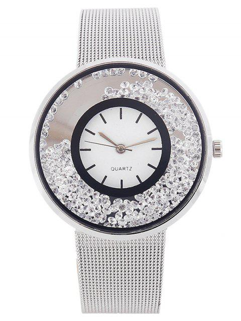 fancy Metal Mesh Rhinestone Quartz Watch -   Mobile