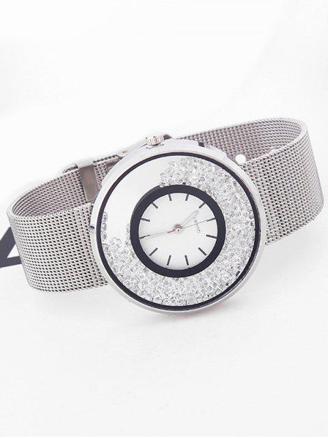 fancy Metal Mesh Rhinestone Quartz Watch -   Mobile