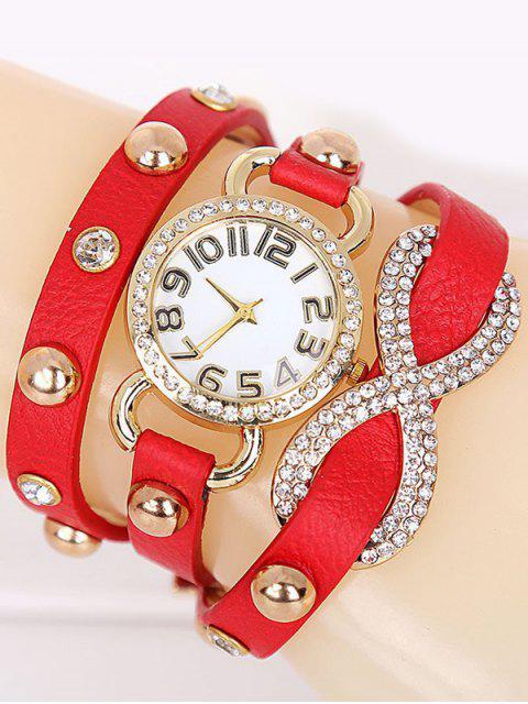buy Rhinestone Infinite Wrap Bracelet Watch - RED  Mobile