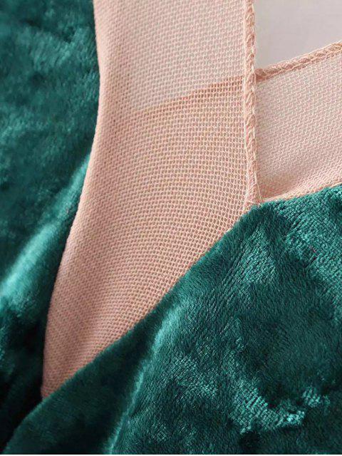 affordable Front Slit Crushed Velvet Maxi Tank Dress - DEEP GREEN ONE SIZE Mobile