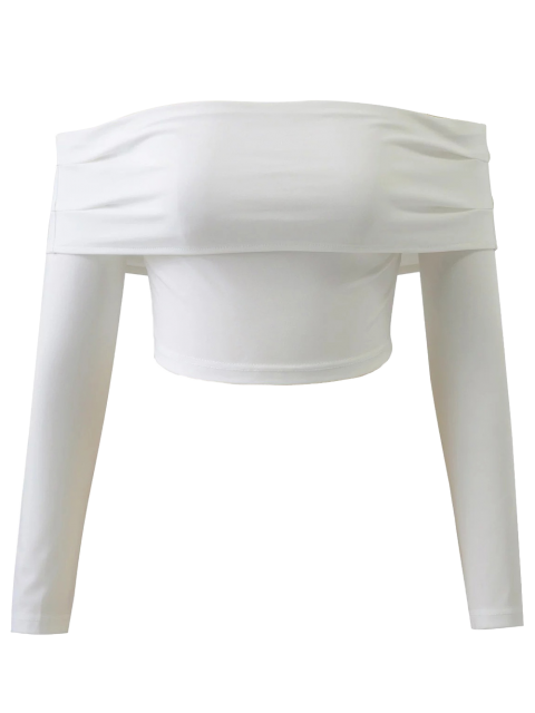 shops Long Sleeved Off The Shoulder Top - WHITE L Mobile