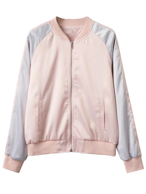 hot Glossy Satin Bomber Jacket - PINK L Mobile
