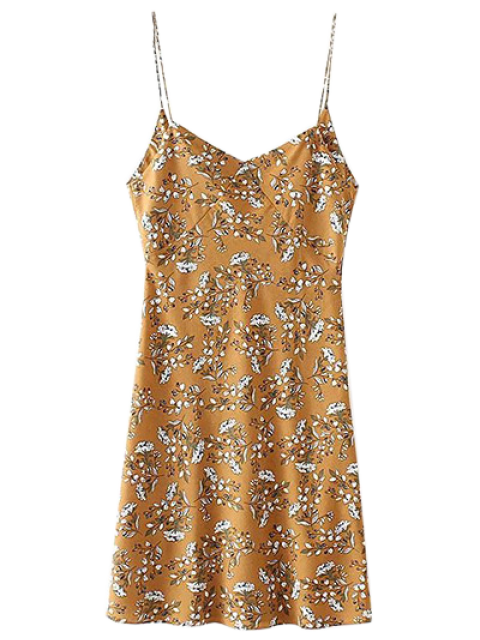 lady Tiny Floral Slip Dress - YELLOW OCHER M Mobile