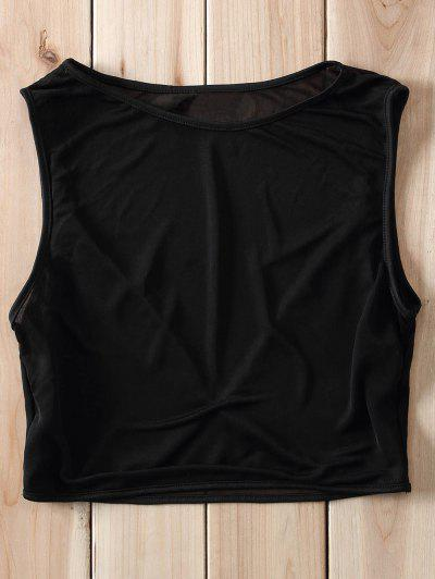 Voile Splicing See-Through Crop Top