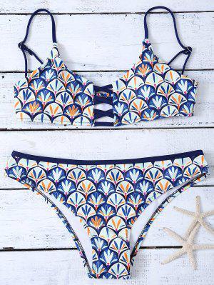 Criss Cross Cami Shell Imprimir Bikini Set - Azul L
