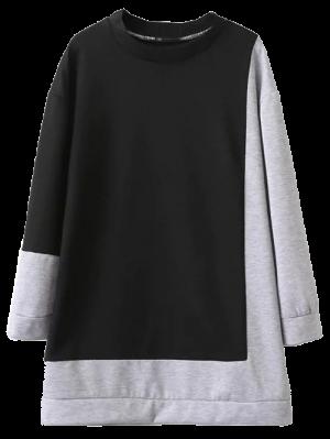 Vestido Sudadera Bloque Color Tamaño Grandísimo  - Negro Y Gris L