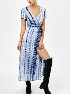 Tie-Dyed Short Sleeve Surplice Maxi Dress - Deep Blue - Deep Blue S
