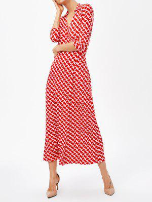 High Slit V Neck Retro Print Maxi Dress - Red - Red S