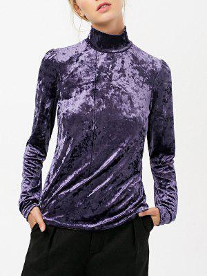 Colarinho Alto Long Sleeve Velvet Top - Roxo M