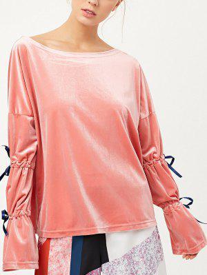 Boat Neck Dividir Sleeve Velvet Top - Rosa Xl