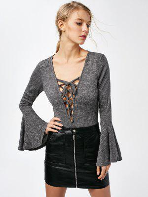 Bell Sleeve Lace Up Bodysuit - Gray L