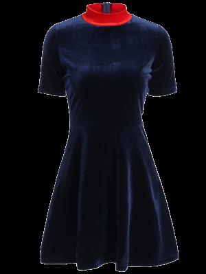 Robe Trapèze Ajustée En Velours - Bleu Cadette L