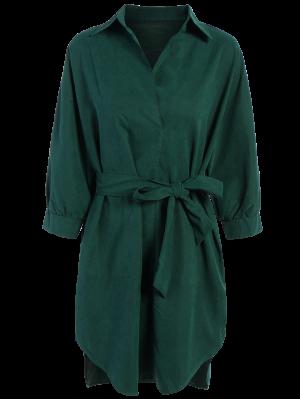 Tie Belt Midi Shirt Dress - Deep Green 2xl