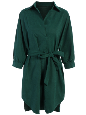 Tie Belt Midi Shirt Dress - Deep Green M