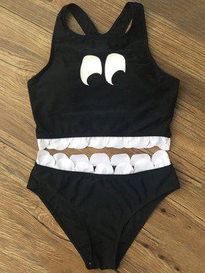 Ensemble De Bikini Imprimé Avec Décoration En Forme D'éventail - Noir L
