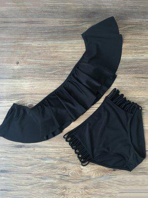 Fuera Del Hombro Volantes Bikini Set - Negro S