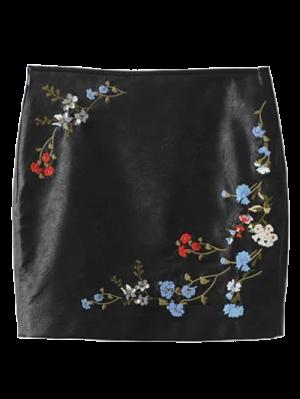 Cuero De Imitación Floral De La Falda Bordada - Negro Xl
