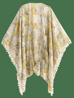 Impreso Bohemio De La Borla Del Kimono - Floral L