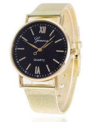 Metal Mesh Band Number Quartz Watch