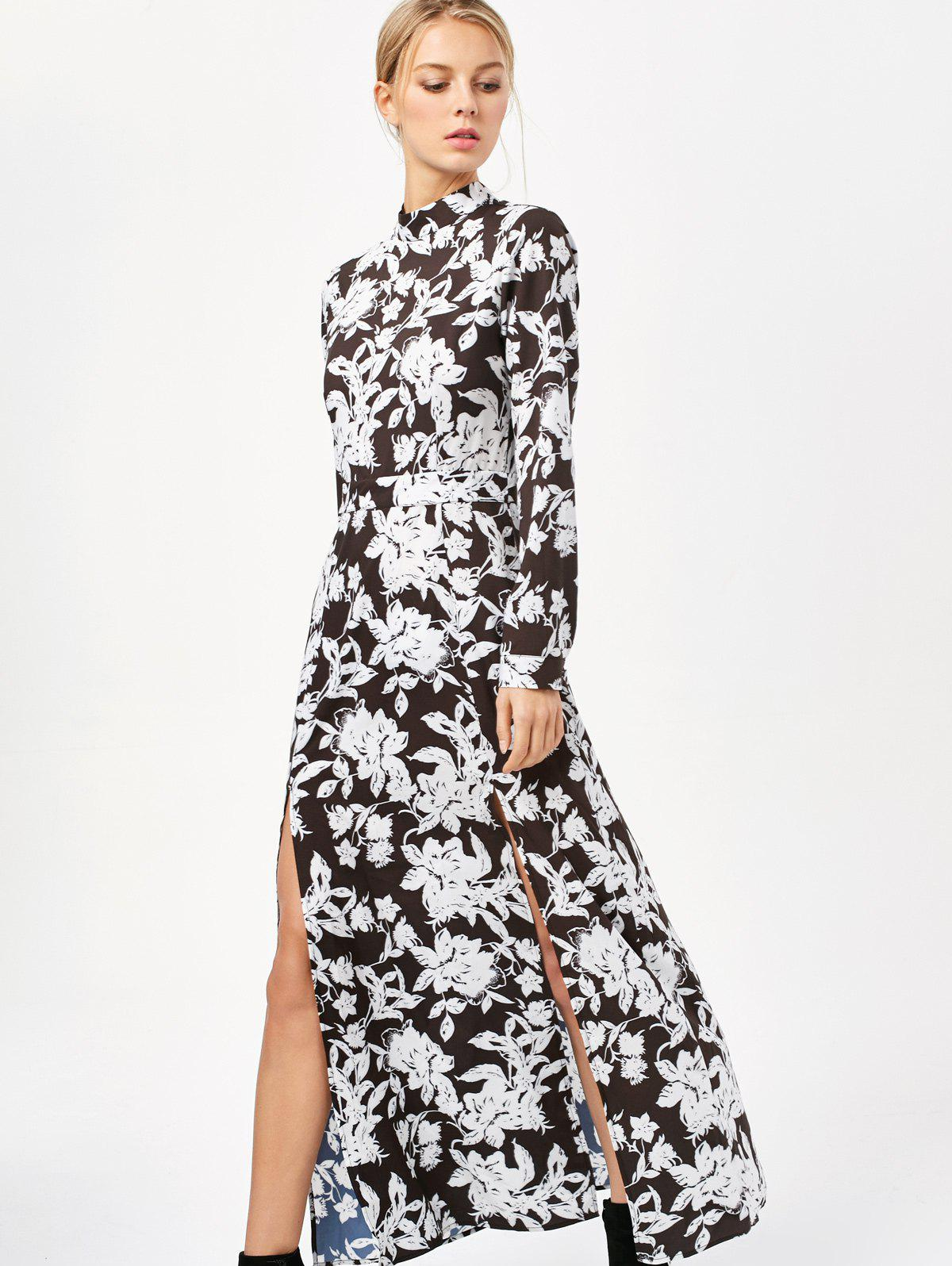 Printed Thigh Split Maxi Dress
