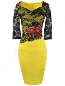 Vestido Lápiz Empalmado Floral Encaje Bordado  - Amarillo L