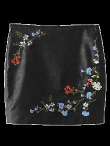 Cuero De Imitación Floral De La Falda Bordada - Negro S