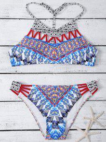 Hollow Out T Back Printed Bikini Set - Multicolor M