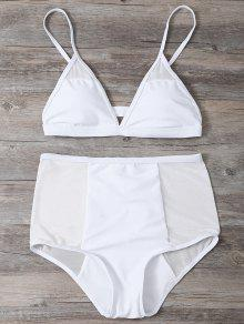 Low Cut High Waist Sheer Bikini Swimsuit - White L