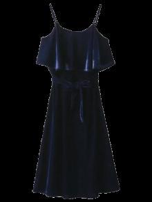 Volantes Vestido De Terciopelo Cami - Azul Purpúreo M