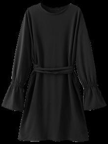 Vestido Manga Campana Cintura Lazo  - Negro M