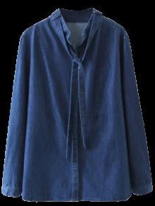 Tie Neck Denim Blouse - Denim Blue S