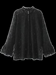 Cut Out Ruff Collar Lace Blouse - Black M