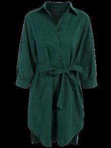 Tie Belt Midi Shirt Dress - Deep Green 2xl