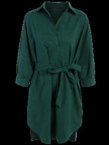 Robe-chemisier Verte Avec Cordons à Nouer Et à Manches Longues - Vert Foncé M
