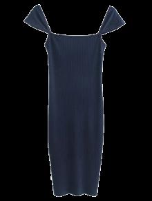 Low Back Ribbed Cap Sleeve Robe Crayon - Bleu Violet M