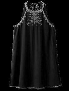 Sleeveless Cut Back Embroidered Dress - Black M