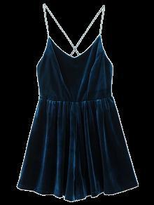 Low Back Slip Velvet Skirted Romper - Peacock Blue S