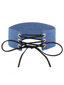 Adjustable Bowknot Denim Choker Necklace - #02