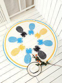 Pineapple Patterned Tassels Beach Throw - White