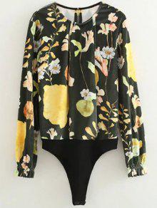 Floral Print Velvet Bodysuit - Floral M
