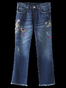 Hem Raídos Pantalones Vaqueros Cosechados Florales - Azul M